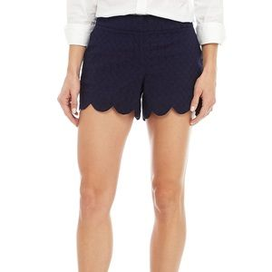 Crown & Ivy Navy Blue Scallop Hem Casual Shorts 6